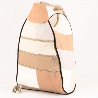 КОД : 0028 Дамска раница / чанта от естествена кожа на парчета в светли пастелни цветове