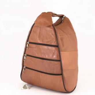 КОД : 0028 Дамска раница / чанта от естествена кожа на парчета в кафяв цвят