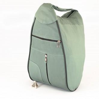 КОД : 0028L Дамска раница / чанта от естествена кожа на парчета в сиво зелен цвят