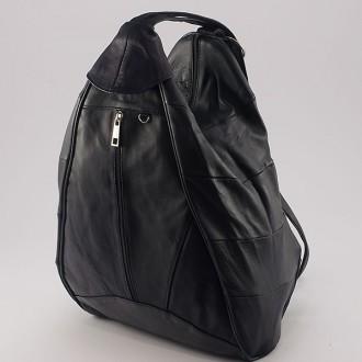 КОД : 0028B Дамска раница / чанта от естествена кожа в черен цвят