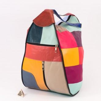 КОД : 0028L Дамска раница / чанта от естествена кожа на парчета в светли цветове