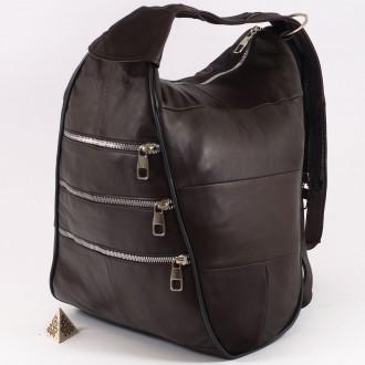 КОД : 0028A Дамска раница / чанта от естествена кожа в кафяв цвят с метални ципове