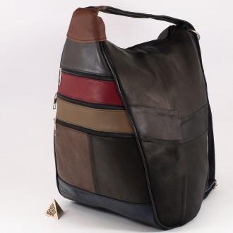КОД : 0028 Дамска раница / чанта от естествена кожа на парчета в тъмни цветове