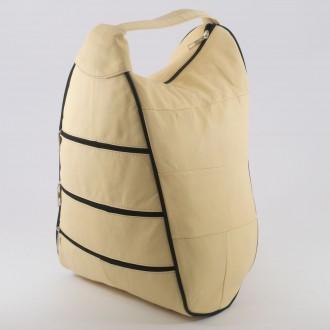 КОД : 0028 Дамска раница / чанта от естествена кожа в бледожълт цвят