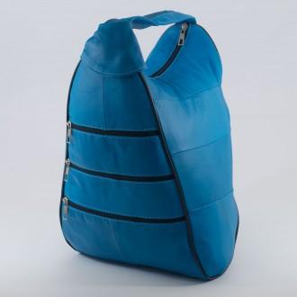 КОД : 0028 Дамска раница / чанта от естествена кожа в син цвят
