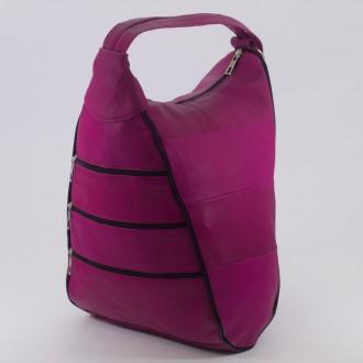 КОД : 0028 Дамска раница / чанта от естествена кожа в цвят циклама