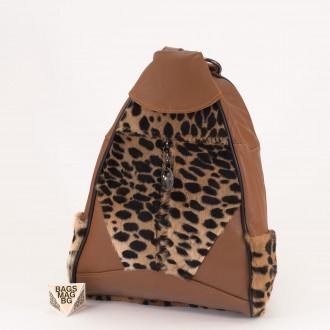 КОД : 0028B Мини дамска раница от естествена кожа и естествен косъм в кафяв цвят