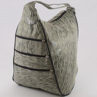 КОД : 0028C Дамска раница / чанта от естествена кожа на парчета с лъскав ефект в бледо жълт цвят