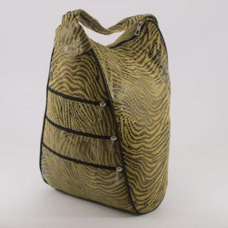 КОД : 0028C Дамска раница / чанта от естествена кожа на парчета с лъскав ефект в жълт цвят