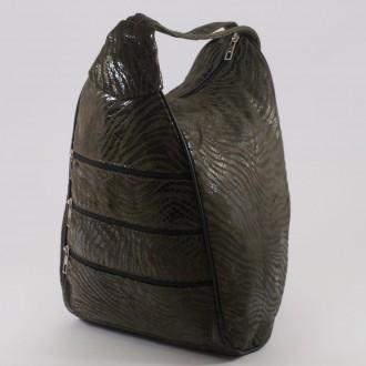 КОД : 0028C Дамска раница / чанта от естествена кожа на парчета с лъскав ефект в светло кафяв цвят