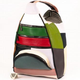КОД : 0028D Дамска раница / чанта от естествена кожа на парчета в шарени цветове