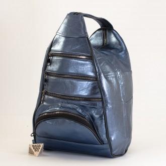 КОД : 0028D Дамска раница / чанта от естествена кожа на парчета в светло син цвят