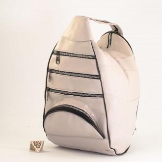 КОД : 0028D Дамска раница / чанта от естествена кожа на парчета в светло сив цвят