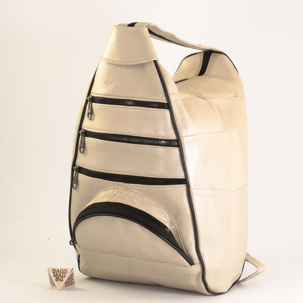 КОД : 0028D Дамска раница / чанта от естествена кожа на парчета в светло бежов цвят
