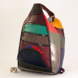КОД : 0028D Дамска раница / чанта от естествена кожа в тъмни шарени парчета