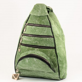 КОД : 0028D Дамска раница / чанта от естествена кожа на парчета в зелен цвят