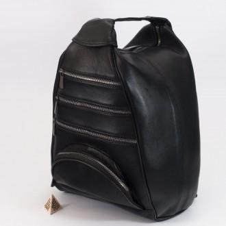 КОД : 0028D Дамска раница / чанта от естествена кожа на парчета в черен цвят