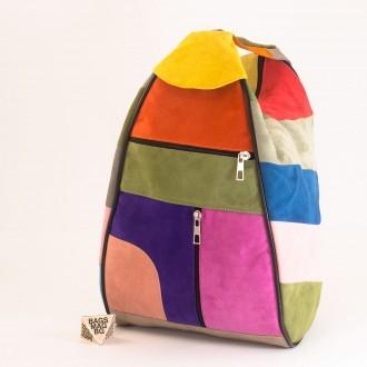 КОД : 0028V Дамска раница / чанта от естествен велур на парчета в светли шарени цветове