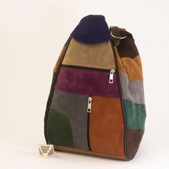КОД : 0028V Дамска раница / чанта от естествен велур на парчета в тъмни шарени цветове