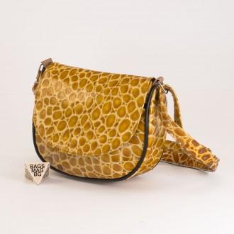 КОД: 0031 Малка дамска чанта от естествена кожа на парчета в жълт цвят