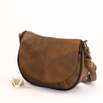 КОД: 0031 Малка дамска чанта от естествена кожа на парчета в кафяв цвят