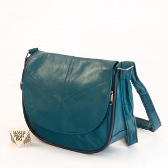 КОД: 0031 Малка дамска чанта от естествена кожа на парчета в син цвят