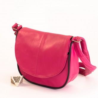 КОД: 0031 Малка дамска чанта от естествена кожа на парчета в розов цвят