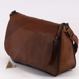 КОД: 0034B  Дамска чанта от естествена кожа на парчета в светлокафяв цвят