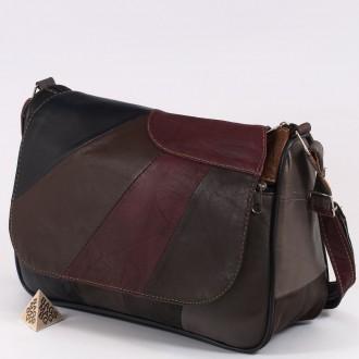 КОД: 0034B Дамска чанта от естествена кожа на парчета в тъмни шарени цветове