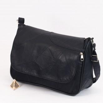 КОД: 0034B Дамска чанта от естествена кожа на парчета в тъмно син цвят