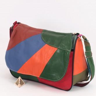 КОД: 0034B  Дамска чанта от естествена кожа на парчета в светли шарени цветове