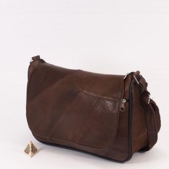 КОД: 0034B Дамска чанта от естествена кожа на парчета в тъмно кафяв цвят