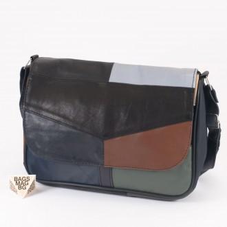 КОД: 0034L Дамска чанта от естествена кожа на парчета в  шарени цветове