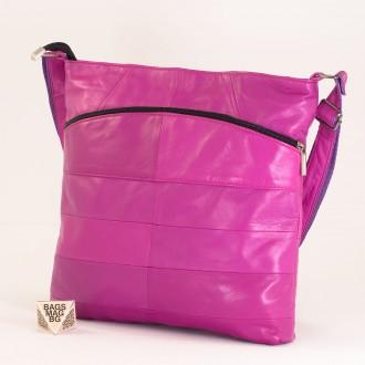 КОД: 0049 Дамска чанта от естествена кожа на парчета в цвят циклама