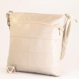 КОД: 0049 Дамска чанта от естествена кожа на парчета в светло сив цвят