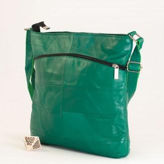 КОД: 0049 Дамска чанта от естествена кожа на парчета в зелен цвят
