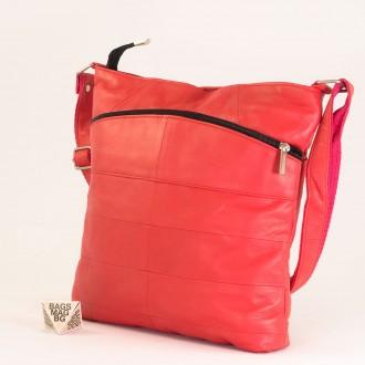 КОД: 0049 Дамска чанта от естествена кожа на парчета в светло червен цвят
