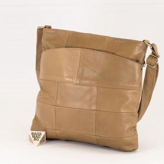 КОД: 0049 Дамска чанта от естествена кожа на парчета в цвят каки