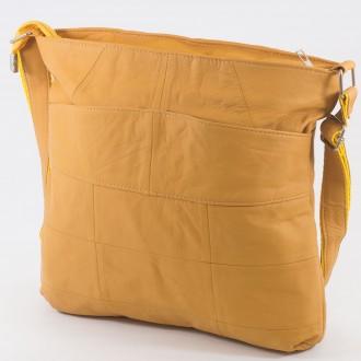 КОД: 0049 Дамска чанта от естествена кожа на парчета в цвят тиква