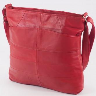 КОД: 0049 Дамска чанта от естествена кожа на парчета в червен цвят