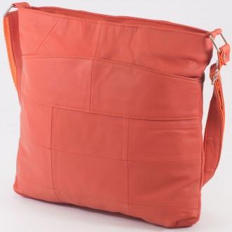 КОД: 0049 Дамска чанта от естествена кожа на парчета в оранжев цвят