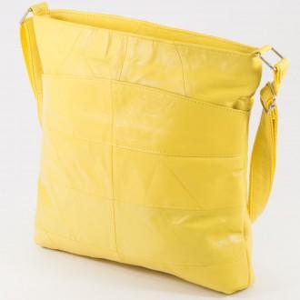 КОД: 0049 Дамска чанта от естествена кожа на парчета в жълт цвят