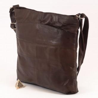 КОД: 0049 Дамска чанта от естествена кожа на парчета в тъмно кафяв цвят