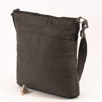 КОД: 0049 Дамска чанта от естествена кожа на парчета в Тъмно сив цвят