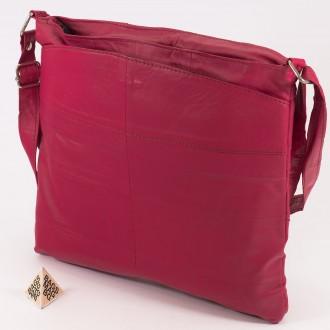 КОД: 0049B Дамска чанта от естествена кожа на парчета в розов цвят