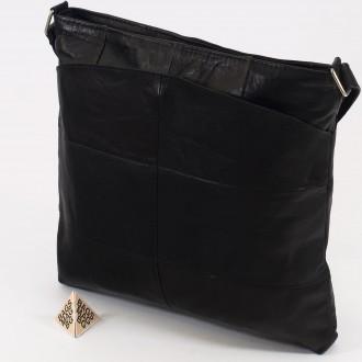 КОД: 0049B Дамска чанта от естествена кожа на парчета в черен цвят