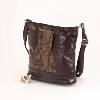 КОД: 0049C-14 Малка дамска чанта от естествена кожа на парчета