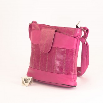 КОД: 0049C-15 Малка дамска чанта от естествена кожа на парчета
