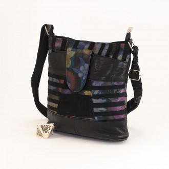 КОД: 0049C-16 Малка дамска чанта от естествена кожа на парчета