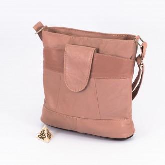 КОД: 0049C Малка дамска чанта от естествена кожа на парчета в светло розов цвят